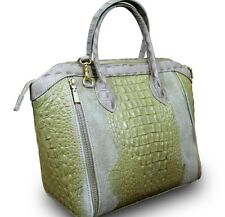 MADE IN ITALY ECHT NUBUK DICK LEDER ALLIGATOR KROKO LADY CUBE BAG TASCHE BEIGE