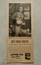 Vintage 1946 Lipton Ice Tea Paper Advertisement featuring Ginger Rogers