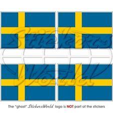SCHWEDEN Schwedische Flagge Fahne 50mm Auto Aufkleber x4 Vinyl Stickers
