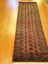 21/2x8 Runner hand knotted oriental rug Rose 100% Wool Pile Bokhara Design.
