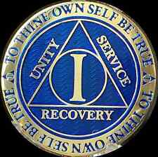 1 Year AA Medallion Blue Gold Plated Alcoholics Anonymous Sobriety Chip Coin One