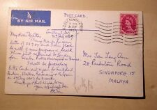 Great Britain To Singapore 1957 8 Pence Airmail Rate Postcard