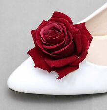 Valentine Red Rose Wedding Bridal Sandals High Heel Shoes Clips Pair
