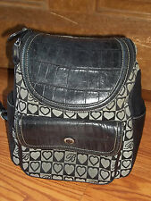 Brighton Black Croco Leather Hearts Backpack Bag! Great Bag!
