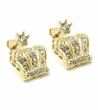 Mens Gold Plated Iced Out Queens Crown Hip Hop Stud Bling Earrings E8