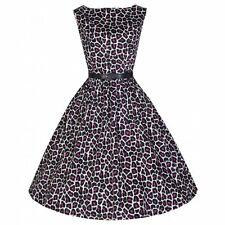 NEW VINTAGE 50'S STYLE AUDREY PURPLE LEOPARD PRINT SWING PARTY DRESS SIZE 14
