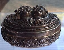 VINTAGE HENRYK WINOGRAD  REPOUSSE STERLING SILVER BOX WITH CHERUBS.