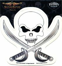 SKULL & SWORDS jolly roger STICKER -tranparent **FREE SHIPPING** pirate -y ja266