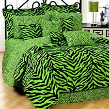 Lime Green Zebra 6 Pc TWIN Comforter Set - (Save Big on Bundling!)