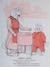OLD VINTAGE PRINT LOUIS WAIN COMICAL CATS SIMPLE SIMON c1909 PRINTED COLOUR