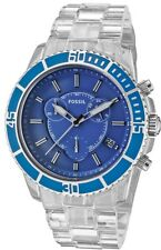 Fossil Men's CH2625 Clear Ceramic Bracelet Blue Analog Dial Chronograph Watch