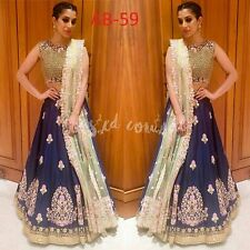 Indian Designer Bollywood Style Sophie Blue Lehenga with thread work on Tapeta..