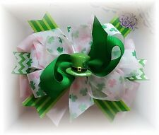 (1) Lot Luck of the Irish 5 inch Boutique Hair Bow Saint Patty's Day