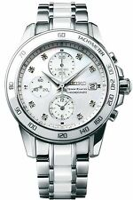 New Seiko Sportura SNDX95 Chronograph Stainless Steel & Ceramic Ladies Watch