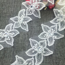 New 1 Yards 2-layer 70mm Embroidered Flower Applique Pearl Core Lace Trim #SUK03