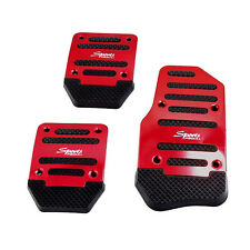 3Pcs Non Slip Car Manual Transmission Red Pedal Cover Brake Clutch Accelerator