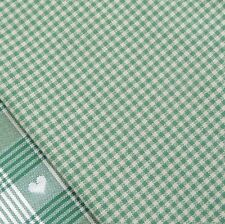 Forest Green and Linen Mini Gingham Check Fabric / Nordic stocking Christmas
