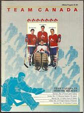 1986-87 Team Canada Vs Moscow Selects Exhibition Series Program & Insert Roster