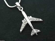 Swarovski Crystal Jet Airplane Pendant Necklace Pilot Flight Attendant Women