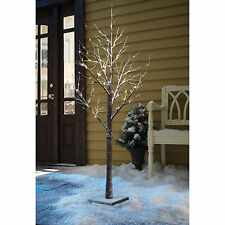 96 LED LARGE 5FT 150cm WHITE SNOWY PRE LIT CHRISTMAS TWIG TREE XMAS OUTDOOR