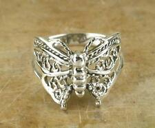 PRETTY .925 STERLING SILVER FILIGREE BUTTERFLY RING size 10  style# r0627