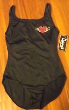 Girls Dance Department Leotard Black w Angle Wings on Back Tage Reads Size LA.