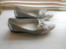 Tod's ~ Art To Wear ~ White & Silver Driving Mocassins ~ 39