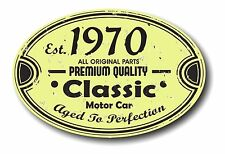 Retro Distressed Aged To Perfection Classic Oval 1970 Vintage Car sticker decal