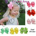 "4.5"" Large Bow Hair Alligator inch knot Clips Girls Ribbon Bows Kids Accessories"