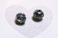 BALI .925 STERLING SILVER 10mm ROUND ORNATE FOCAL BEAD #1161 - (1)