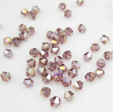 New 100pcs 4mm Glass Crystal #5301 Bicone beads light purple AB colors JZC13