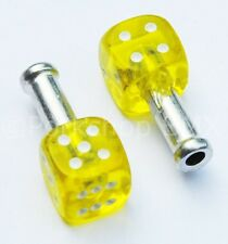 Trik Topz DICE bicycle brake cable end tips crimps (PAIR) CLEAR YELLOW w/ WHITE
