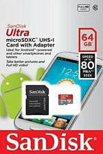SanDisk 64GB Ultra Micro SD XC Class 10 Memory Card for Samsung Galaxy Tab