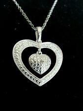 """Diamond Heart within a Heart Pendant necklace w/20"""" chain in sterling silver"""