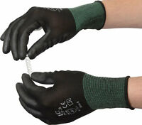10 Pairs Of UCI PCP-B Black PU Precise Palm Coated Safety Work Gloves Size 7