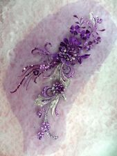 GB332 Embroidered Appliques Rhinestone Center Purple 3D Floral Patch 13.5""