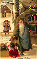 Rare H-T-L Hold To Light Santa Claus Christmas Angel's Postcard