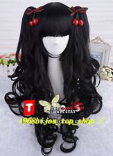 hot [COS] sweet natural black / double ponytail curly  LOLITA cosplay wig+gift