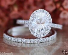 1.70 CT OVAL CUT DIAMOND BRIDAL SET ENGAGEMENT RING SOLID 14K WHITE GOLD
