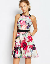 ted baker samara floral print skater dress with buckle strap size 1 uk 8 new
