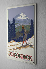 Tin Sign World Tour  Skiers in the Adirondack Mountains Metal Plate