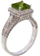 18K WHITE GOLD CUSHION CUT PERIDOT AND DIAMOND DECO ANTIQUE STYLE RING 2.75CTW