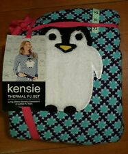 NWT Womens KENSIE Purple Green Penguin Pajama Set Size LARGE L 12-14