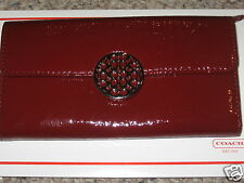 COACH Alexandra Patent Leather Slim Envelope Wallet 46999 Crimson Red $218 NWT