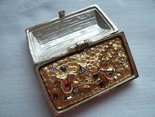 Vintage Signed AJC Silver/Gold pewter Treasure Chest   Brooch/Pin   Opens/Closes