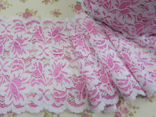 "4 yards Elastic Pink/White Soft Flower Floral Lace 5.75"" Wide Trim/Stretch T14"
