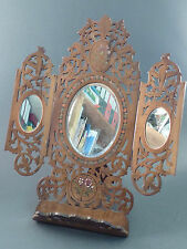 VICTORIAN SORRENTOWARE FRETWORKED OLIVE WOOD FOLDING EASEL MIRROR