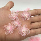 New 10pcs Organza Ribbon Flowers Bows Pearl For Sewing Appliques Wedding Pink