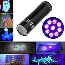 Aluminum UV Ultra Violet 9 LED Flashlight Blacklight Torch Light Lamp Black