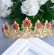 6cm High Heart Luxury Golden Red Crystal Wedding Party Pageant Prom Tiara